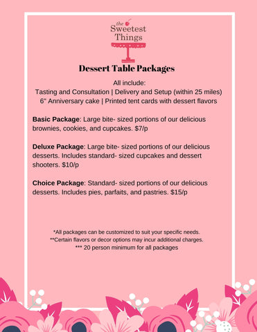Dessert Table Prices