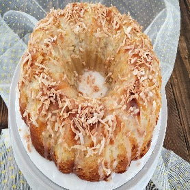 Toasted coconut and pineapple pound cake
