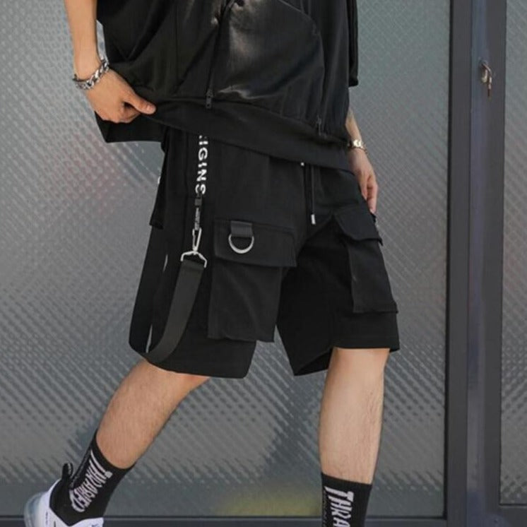 sale online popular stores agreatvarietyofmodels Men punk rock hip hop shorts ribbons hiphop cargo shorts mens black casual  street wear elastic short pants with many pockets