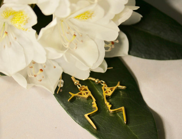 Gold Facial Profile Earrings