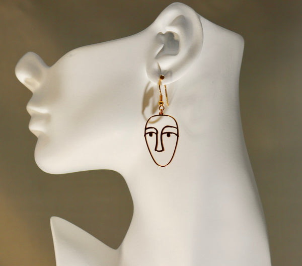 Gold Faces 1 Earrings