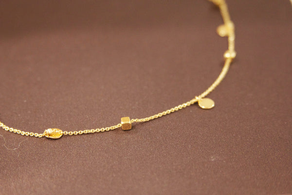 Gold Plated Circles and Cubes Necklace