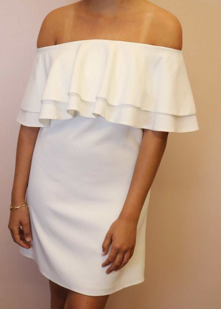 Porte Privé White Frill Dress