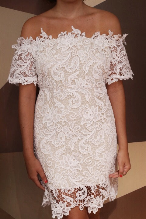 Porte Privé Off The Shoulder Lace Dress
