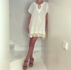 Just Paul Opal White Lace Hippie Dress