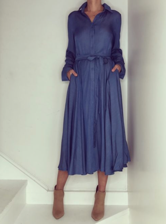 Just Paul Blue Grace Midi  Dress