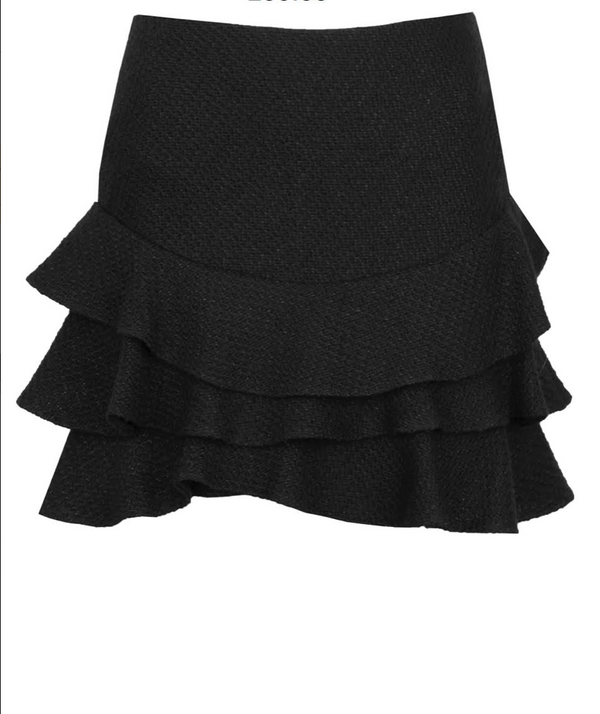 Porte Prive Ruffled Wool Skirt