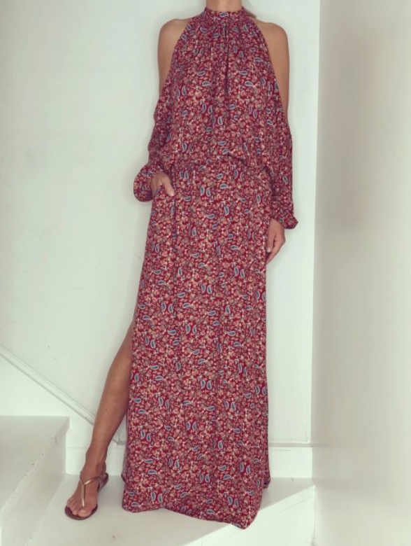 Just Paul Persian Feather Alaia Maxi Dress