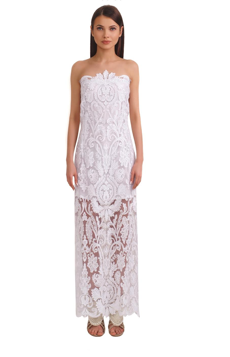Porte Privé Strapless White Lace Gown