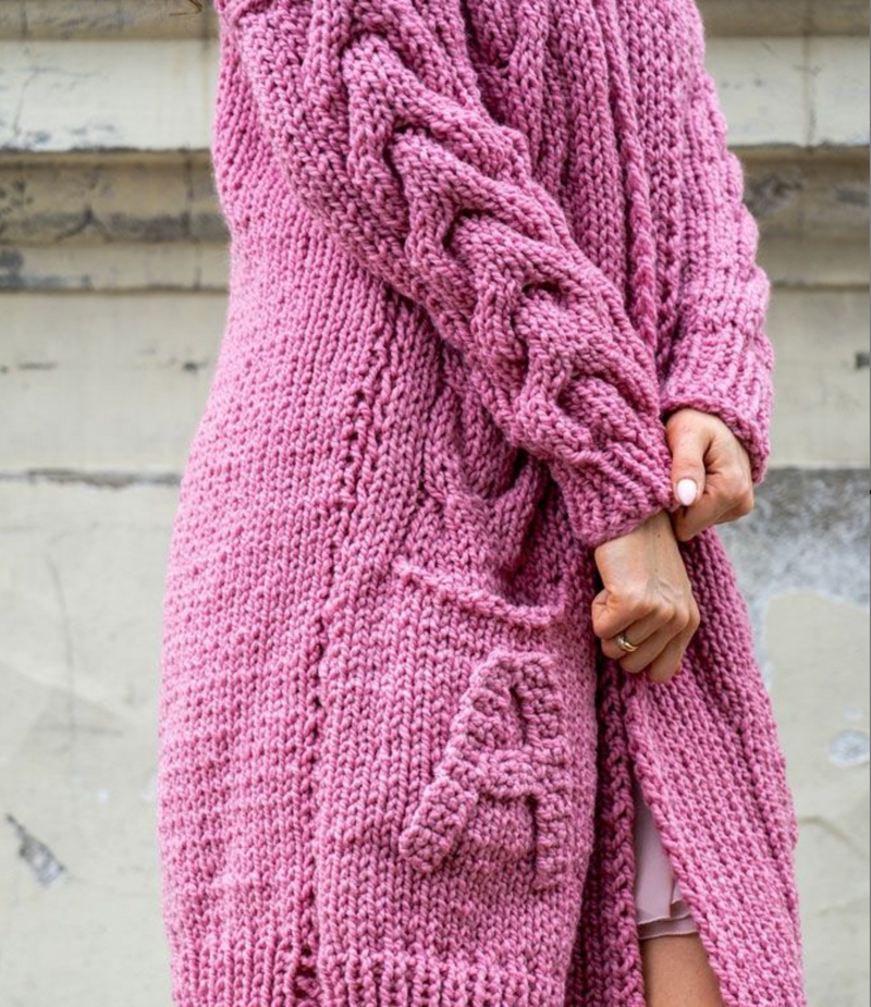 ANGELL 100% WOLL LONG PINK LOREN CARDIGAN