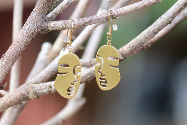 Full Gold Face Earrings