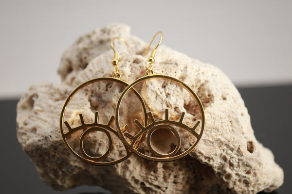 Gold Big Eye Earrings
