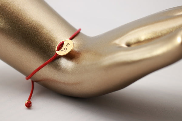 Gold Love Bracelet w/ Red Adjustable String
