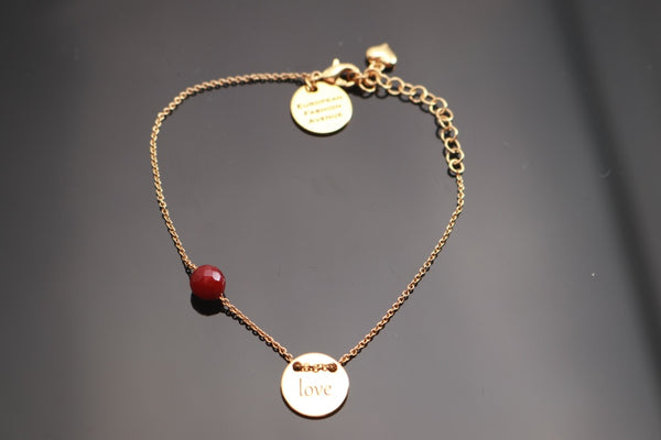 Gold Love Bracelet w/ Single Colored Swarovski Crystal