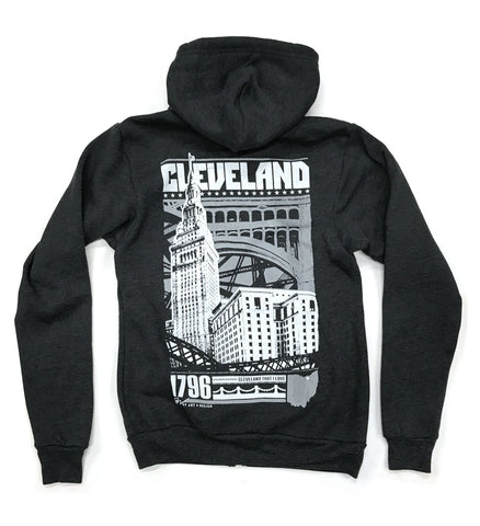 Two Tone Bold Graphic Cleveland Zip Up - Charcoal