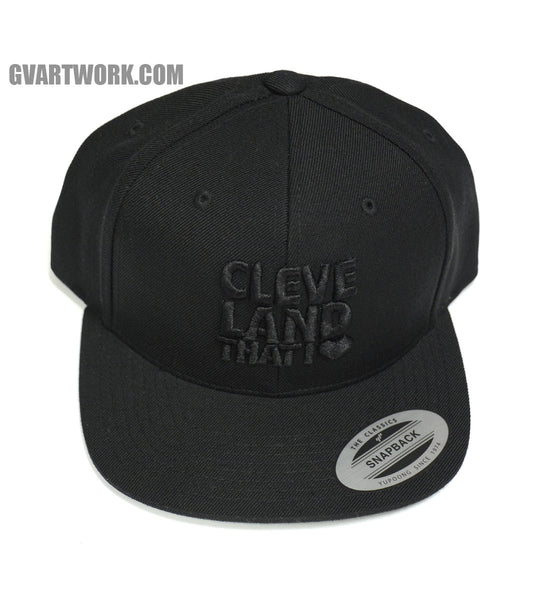 Original Cleveland That I Love Logo All Black Snap Back Hat