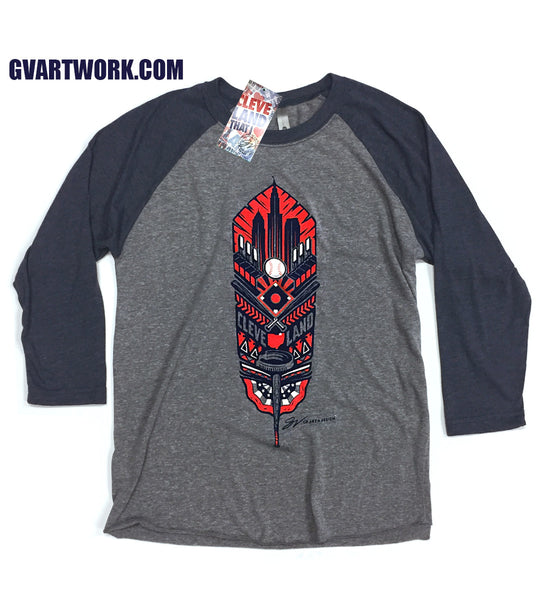 Cleveland Feather 3/4 Sleeve Baseball T shirt