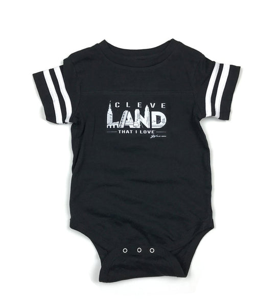Cleve Land Black and White Striped Sleeved Onesie