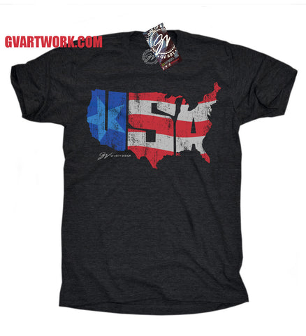 USA America T shirt - Triblend Black