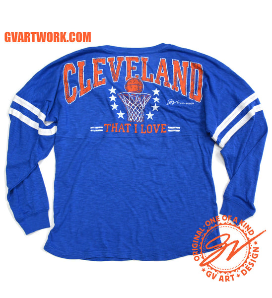 Womens V neck Blue Cleveland That I Love Basketball Spirit Tee
