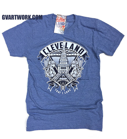 Light Blue Cleveland Crest Graphic T shirt