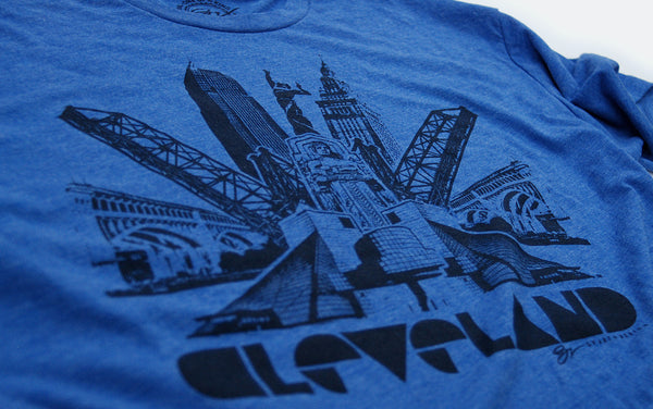 Cleveland Bridges - Light Blue - Navy Blue