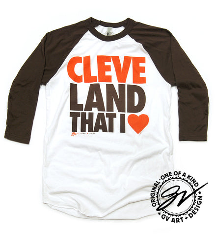 3/4 Sleeve Cleveland That I Love T shirt Brown sleeves