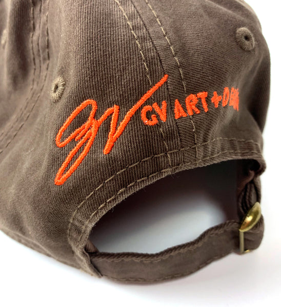 """The Land"" Cleveland Dad Hat Brown and Orange"