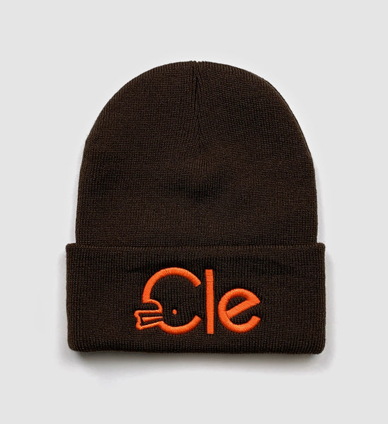 Brown Cle Football Type Winter Hat