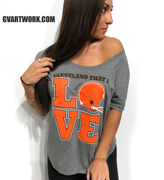 Women's Cleveland That I Love Football Slouchy T-shirt