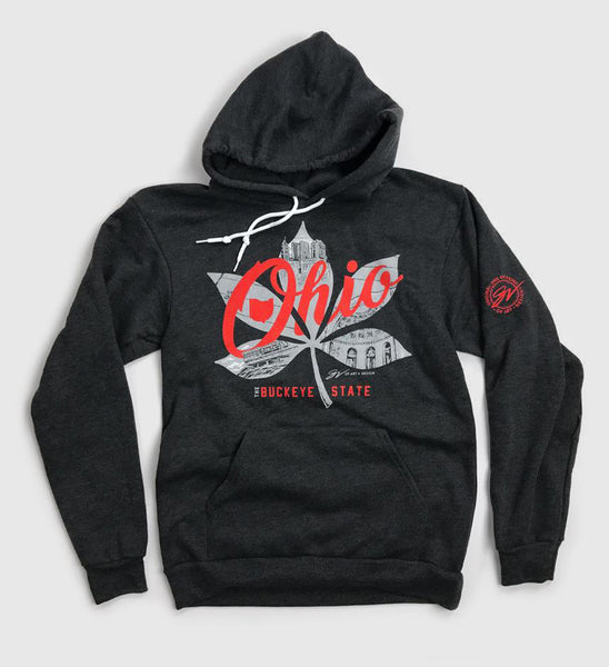 Buckeye Leaf Ohio Script Hooded Sweatshirt