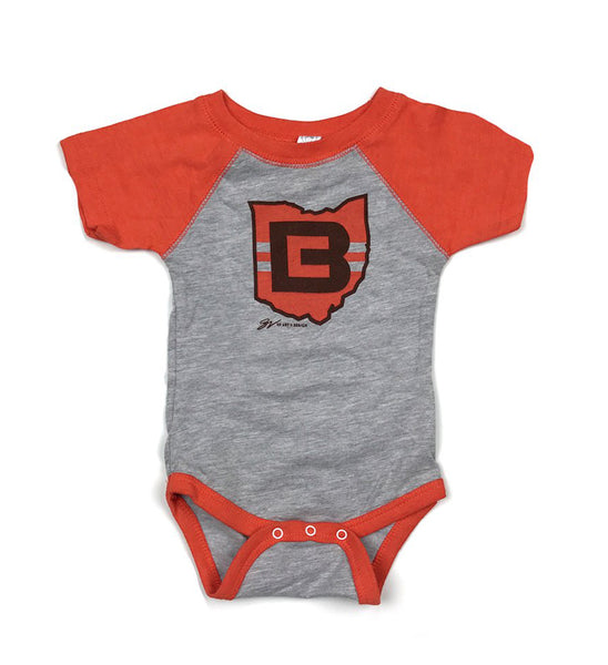 Two-Tone Orange and Grey CB Logo Onesie