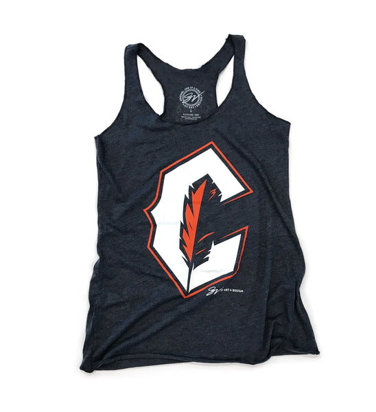 Womens Navy Cleveland Baseball C Feather Racerback Tank