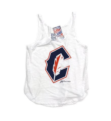 Womens Cleveland Baseball C Feather Tank Top