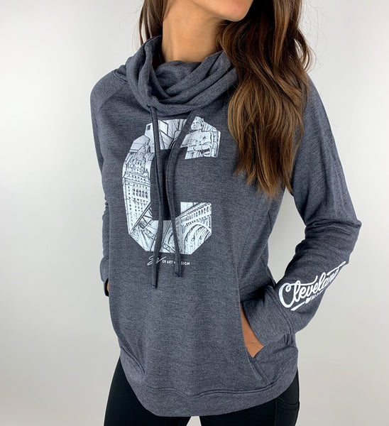 Women's C Navy Funnel Neck Sweatshirt