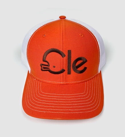 CLE Helmet Mesh Snap Back - Orange/White
