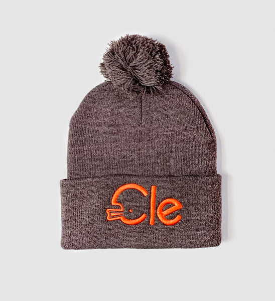 Light Brown Cle Football Type Pom Pom Hat