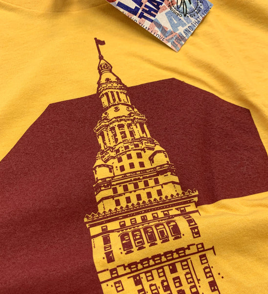 Cleveland C Terminal Tower T shirt Wine and Gold