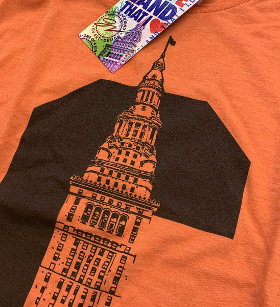 Cleveland C Terminal Tower T shirt Orange and Brown