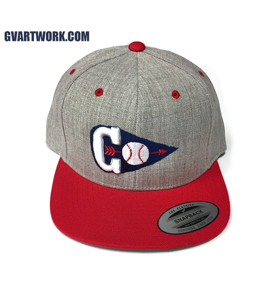 Red Cleveland Baseball C Arrowhead Snap Back Hat