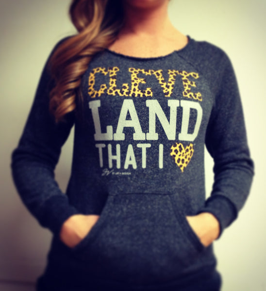 Womens Cleveland That I Love Cheetah Print Pocket Sweatshirt