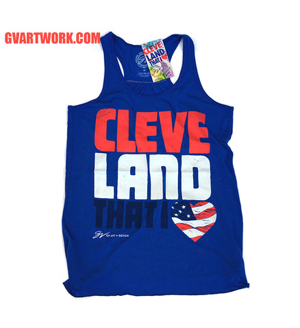 Royal Blue Womens Flowy Racerback Cleveland That I Love USA