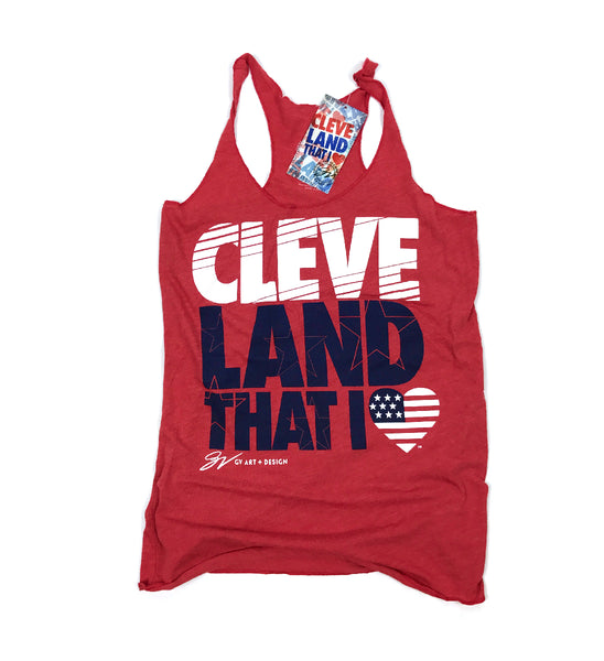 Womens New Red Cleveland That I Love USA Racerback Tank