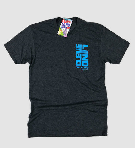 Cleveland Down Front/Back T shirt - Charcoal