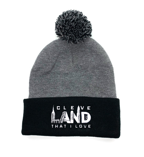 Cleve Landmarks Black/Grey Pom Pom Winter Hat