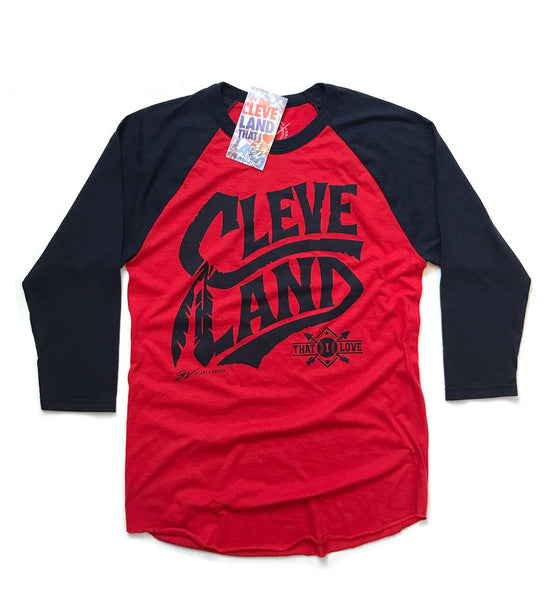 3/4 Sleeve Cleveland Baseball Tribal Feather Script
