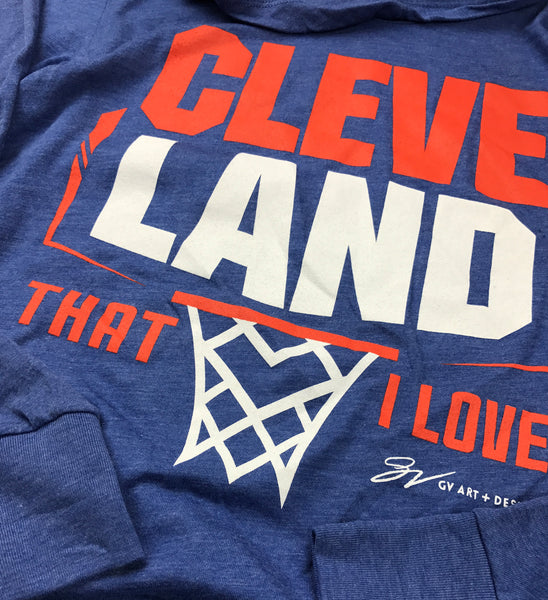 Cleveland Basketball That I Love Hooded T shirt Royal/Orange