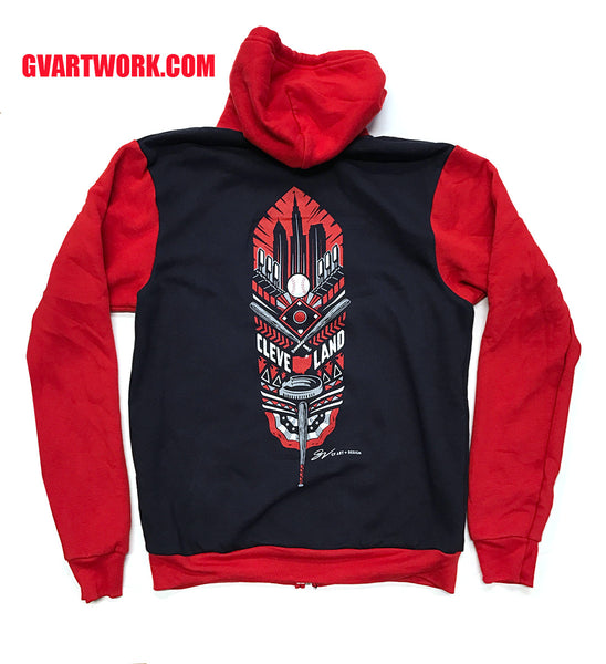 Cleveland Baseball Feather Zip Up Hooded Sweatshirt