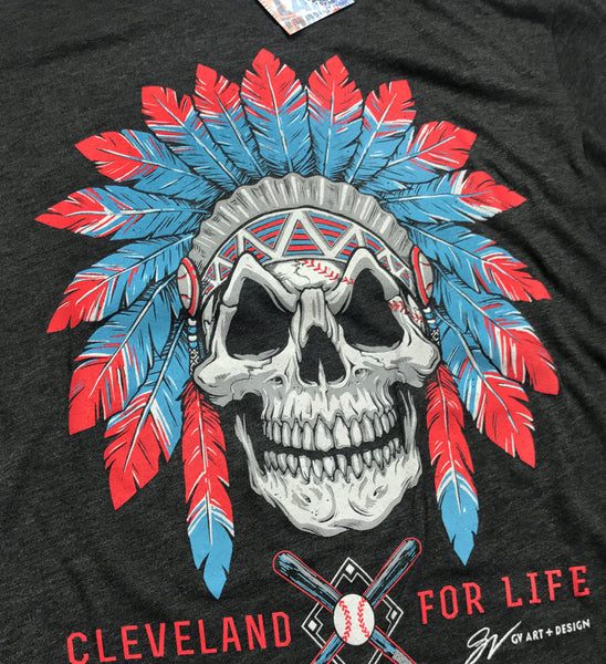 Cleveland Baseball For Life Skull T shirt