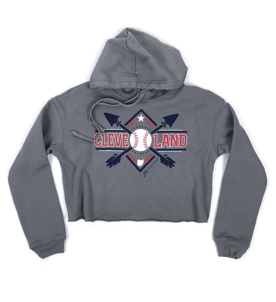 Women's Cropped Cleveland Baseball Hooded Sweatshirt